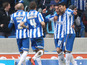 Brighton & Hove Albion's David Lopez celebrates with teammates after scoring against Burnely on February 23, 2013