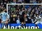 Man City forward Carlos Tevez makes it 2-0 against Chelsea on February 24, 2013