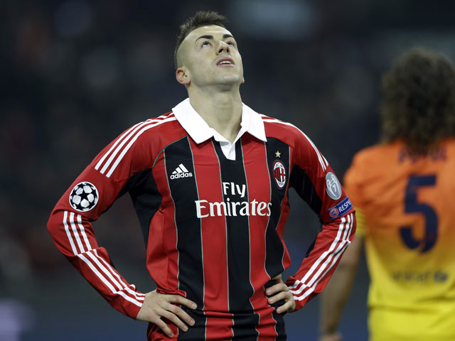 AC Milan forward Stephan El Shaarawy looks up after missing a chance during his side's match against Barcelona on February 20, 2013