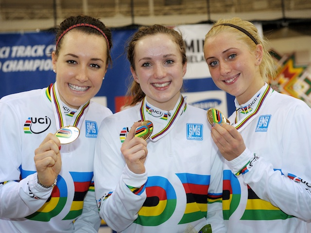 GB's Dani King, Elinor Barker and Laura Trott celebrate Gold in the team pursuit on day two of the UCI Track Cycling World Championships at the Minsk Arena on February 21, 2013