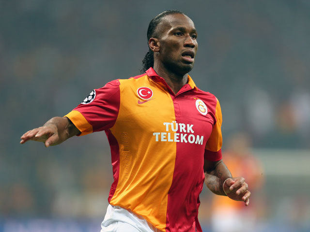 Galatasaray forward Didier Drogba during his side's match aginst Schalke on February 20, 2013