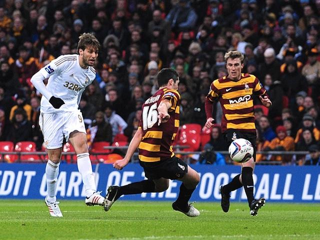 Swansea striker Michu scores the second goal against Bradford on February 24, 2013