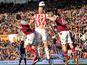 Stoke City's Ryan Shawcross gets between West Ham United's Matt Jarvis and Joey O'Brien during the Premier League clash on March 2, 2013