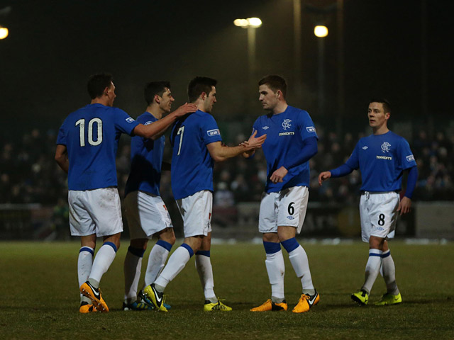 Ranger's Andrew Little is congratulated by team mates after scoring the opening goal against Stirling on February 26, 2013