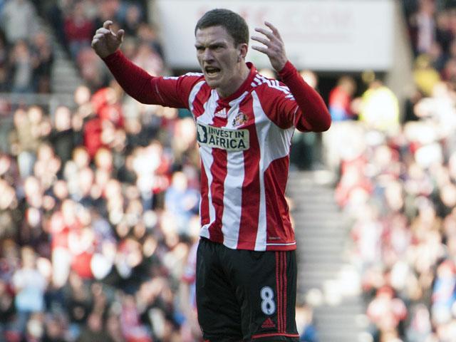 Sunderland's Craig Gardner celebrates after scoring his sides first goal against Fulham on March 2, 2013