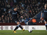 Man City striker Carlos Tevez opens the scoring against Aston Villa on March 4, 2013