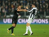 Celtic's Adam Matthews gets into an altercation with Juventus' Federico Peluso during the Champions League tie on March 6, 2013