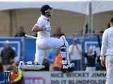 England's Nick Compton celebrates his century against New Zealand on March 9, 2013
