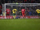 Southampton Goalkeeper Artur Boruc saves a penalty from Norwich's Grant Holt during the Premier League match on March 9, 2013