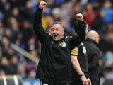 Aston Villa manager Paul Lambert celebrates his side's second goal in their match with Reading on March 9, 2013