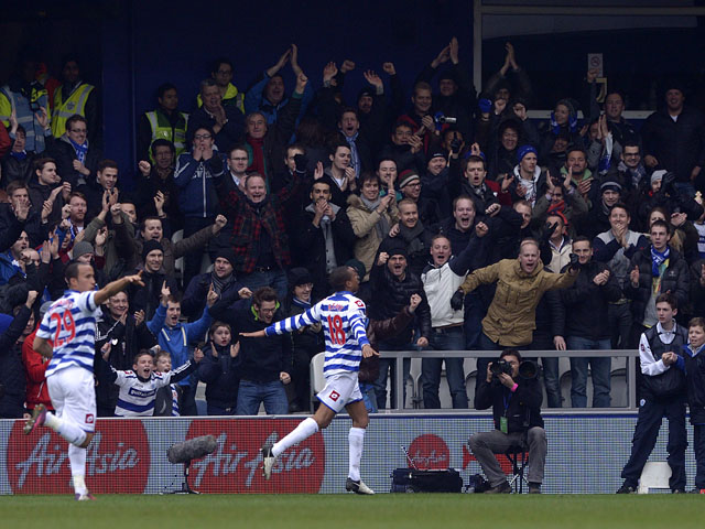 Queens Park Rangers striker Loic Remy celebrates scoring against Sunderland on March 9, 2013