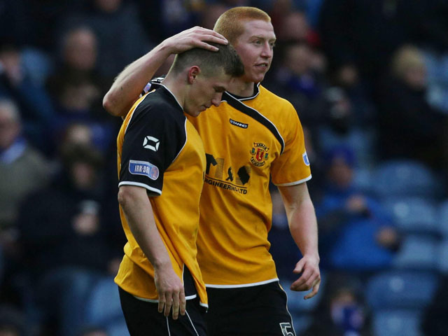 Annan Athletic's David Hopkirk celebrates scoring against Ranger at Ibrox on March 9, 2013
