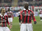 AC Milan forward Mario Balotelli celebrates after scoring against Palermo on Match 17, 2013