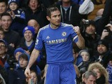 Chelsea's Frank Lampard celebrates scoring against West Ham in the Premier Lea