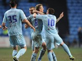 Coventry City's Carl Baker celebrates scoring against Colchester United on March 12, 2013
