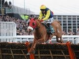 Flaxen Flare jumps the last fence during the Fred Winter Juvenile Handicap Hurdle at the 2013 Cheltenham Festival on March 13, 2013