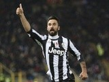 Juve's Mirko Vucinic celebrates a goal against Bologna on March 16, 2013