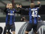 Inter's Rodrigo Palacio celebrates his goal against Spurs on March 14, 2013