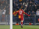 Galatasaray's Burak Yilmaz celebrates scoring his side's second goal against Schalke on March 12, 2013