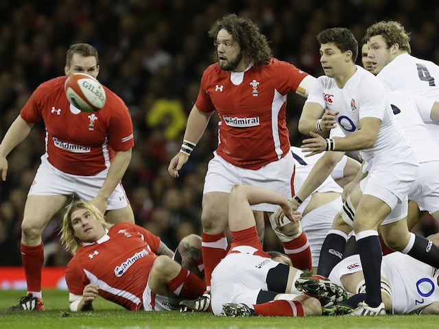 England's Ben Young gets the ball away following a scrum during the game with Wales on March 16, 2013