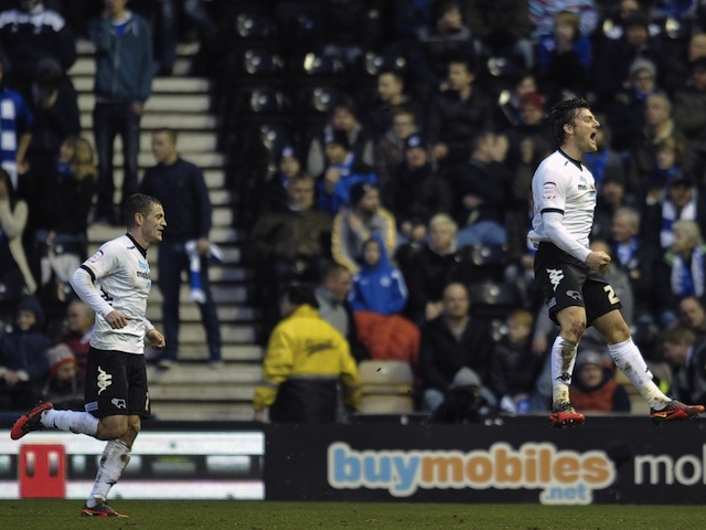 Derby's Chris Martin celebrates his goal against Leicester on March 16, 2013
