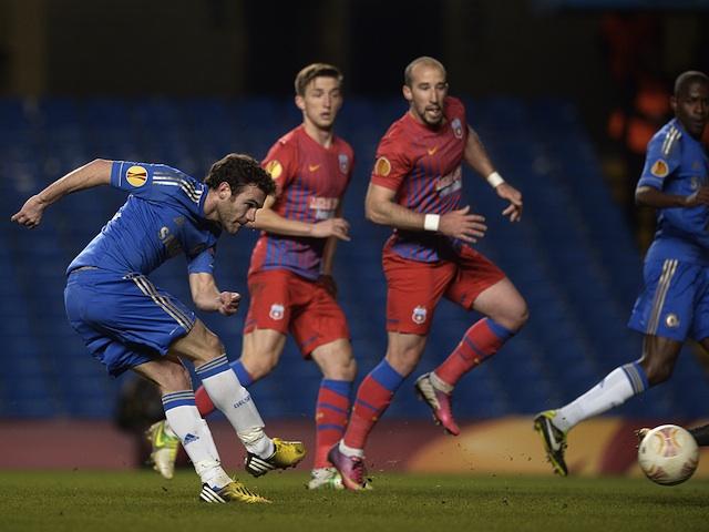 Chelsea's Juan Mata opens the scoring against Steaua Bucharest on March 14, 2013