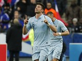 France's Olivier Giroud celebrates scoring the opening goal of his side's World Cup qualifiying match with Georgia on March 22, 2013
