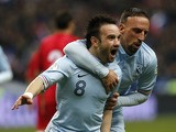 France's Mathieu Valbuena celebrates scoring during his side's World Cup qualifying match with Georgia on March 22, 2013