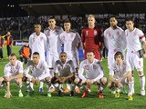 England players line up before their match with San Marino on March 22, 2013