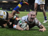 Bradford's Adam Sidlow goes over to score a try against Leeds Rhinos on March 28, 2013