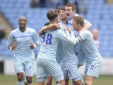 Coventry City's Cyrus Christie celebrates scoring during the League One match against Doncaster Rovers on March 29, 2013
