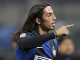 Inter Milan's Ezequiel Schelotto reacts after his side's match against AC Milan on February 24, 2013