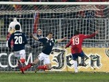 Serbia's Filip Duricic scores against Scotland on March 26, 2013