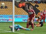 Wolves' Kevin Doyle scores the winning goal against Middlesbrough on March 30, 2013