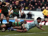 Leicester's Manu Tuilagi scores his second try of the match against Northampton Saints on March 30, 2013