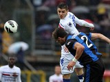 Sampdoria's Mauro Emanuel Icardi and Atalanta's Guglielmo Stendardo battle for the ball on March 30, 2013
