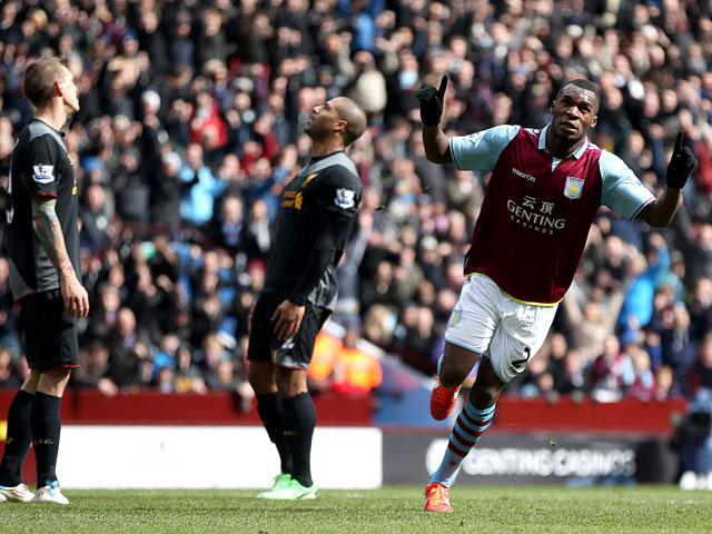 Aston Villa's Christian Benteke celebrates scoring against Liverpool in the Premier League clash on March 31, 2013