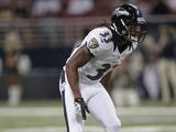 Baltimore Ravens free safety Christian Thompson during his side's game against the St. Louis Rams on August 30, 2012