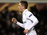 Gylfi Sigurdsson celebrates his goal for Spurs against Basel on April 4, 2013