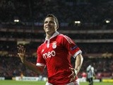 Benfica's Lima celebrates a goal against Newcastle on April 4, 2013