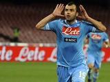 Napoli forward Goran Pandev celebrates scoring against Genoa on April 7, 2013