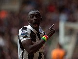 Papiss Cisse celebrates scoring the winning goal against Fulham on April 7, 2013