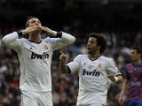 Real Madrid's Cristiano Ronaldo celebrates after scoring against Levante in the La Liga clash on April 6, 2013