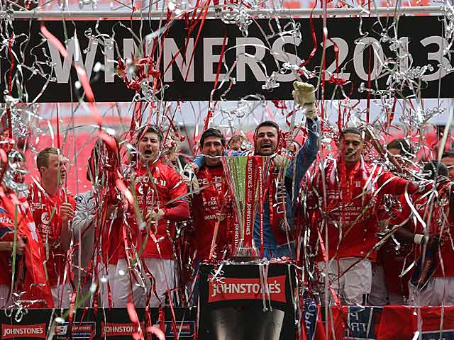 Crewe Alexandra celebrate winning the the Johnstone's Paint Trophy after beating Southend in the final on April 7, 2013