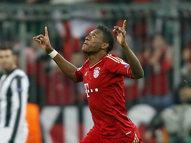 Bayern's David Alaba celebrates after scoring the opening goal against Juventus on April 2, 2013