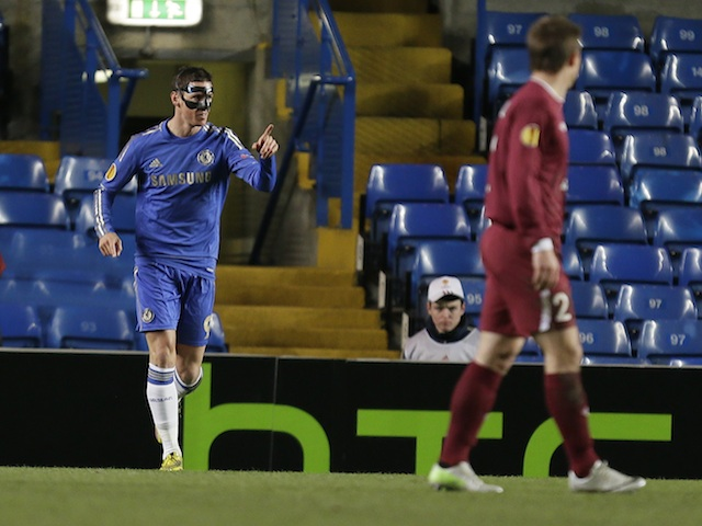 Chelsea forward Fernando Torres celebrates a goal against Rubin Kazan on April 4, 2013