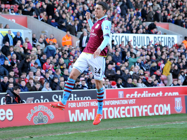 Aston Villa's Matthew Lowton celebrates scoring his side's second goal in their match against Stoke on April 6, 2013