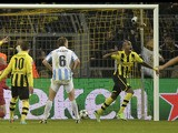 Dortmund's Felipe Santana celebrates scoring the winning goal in his side's match against Malaga on April 9, 2013