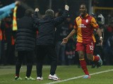Galatasaray's Didier Drogba celebrates scoring against Real Madrid on April 9, 2013
