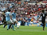 City's Samir Nasri gives his team the lead against Chelsea on April 14, 2013